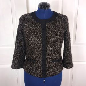 Rafaella 8 retro brown/black boucle style jacket